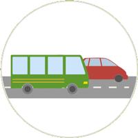 Zeichnung eines grünen und roten Autos auf einer Straße