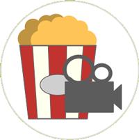Zeichnung einer weiß-roten Tüte mit Popcorn und einer Videokamera