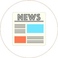 Zeichnung einer Zeitschrift mit blauen und orangenen Viereck als Textfeld und schwarzen Linien