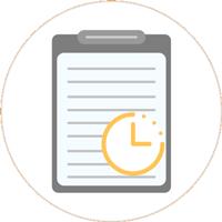 Zeichnung eines Klemmbrettes in grau mit einer orangenen Uhr in der rechten Ecke