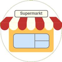 Zeichnung eines Supermarktes mit weiß-rotem Dach und einer gelben Wand mit Fenster