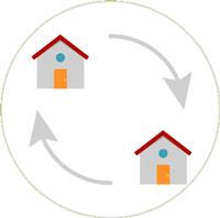 Zeichnung von zwei grauen Häsuern mit roten Dach und grauen Pfeilen