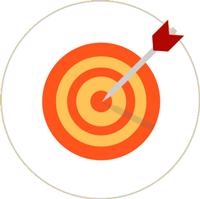 Zeichnung einer orange-gelben Zielscheibe mit einem rot-grauen Pfeil